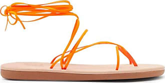 Ancient Greek Sandals String Wraparound Rubber And Leather Sandals - Womens - Orange