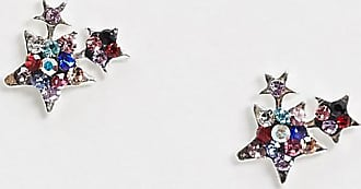 Kingsley Ryan star cluster earrings in sterling silver with multi crystals