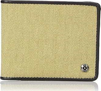 Lee Lee Mens Canvas and Leather Billfold RFID Blocking Wallet, Khaki, One Size