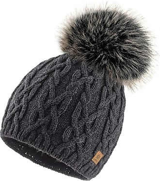4sold Ladies Chunky Soft Cable Knit Handmade Woman Hat Cosy Fleece Liner and Bobble Faux Fur Pom pom (Debora Dark Grey)