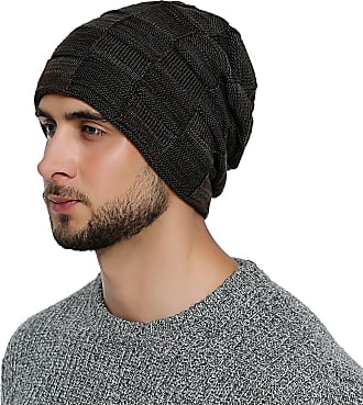 DonDon mens Warm Winter Beanie Slouch tube design modern knitted beanie with extra soft inner lining - Brown