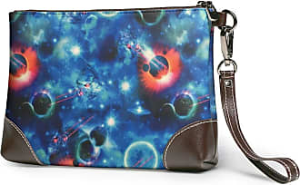GLGFashion Womens Leather Wristlet Clutch Wallet Abstract Blue Storage Purse With Strap Zipper Pouch