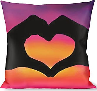 Buckle Down Pillow Decorative Throw Hand Heart Silhouette Ombre Purples Orange Pinks