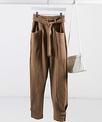 Y.A.S tailored trouser with tie belt in brown-Beige