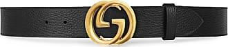 Gucci Cinto de couro com fivela Duplo GG - Preto