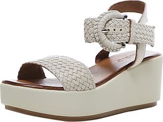 Inuovo Womens Woven Leather Wedge Sandals 4 Cream