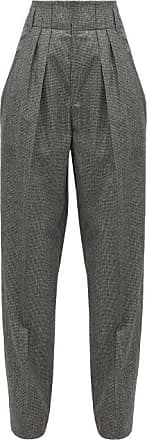 Isabel Marant Magali High-rise Houndstooth Wool Trousers - Womens - Dark Grey