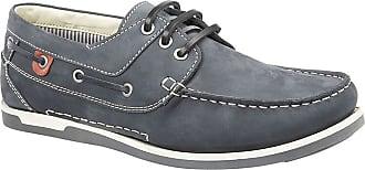 Roamers Roamer Mens Casual Nubuck Leather Boat Shoes (10 UK, Navy)