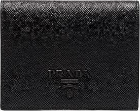 Prada Womens Black Saffiano Leather Bifold Wallet