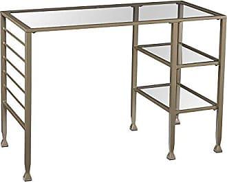 Southern Enterprises 42 Wide Glass Writing Desk - Two Fixed Shelves - Matte Khaki Metal Finish