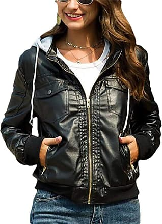 VITryst Women Hooded Casual Faux Leather Moto Biker Short Jacket Coat,Black,XX-Large