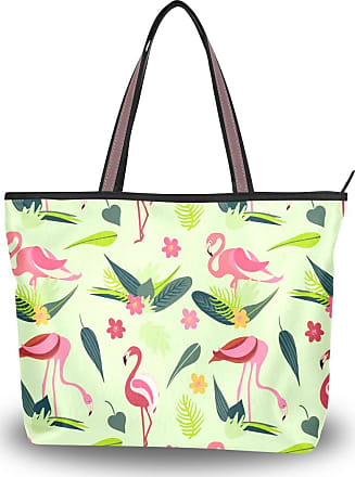 Lorona Women Flamingo Flamenco Summer Pattern Canvas Shoulder Hand Bag Large Capacity Tote Bag