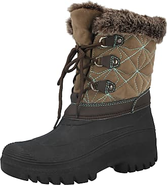 Groundwork LS005 Womens Mukker Stable Yard Winter Snow Lace Up Boots (UK 7, Cognac/Turq)
