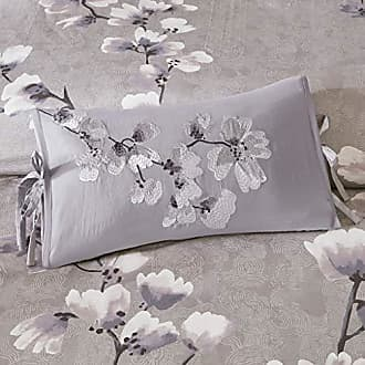 Natori LAF02-0318 Sakura Blossom Embroidered Cotton Oblong Decorative Pillow Lilac 12x20