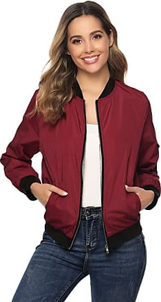 Abollria Womens Bomber Jacket with Pockets Lightweight Slim Fit Long Sleeve Casual Sportswear Jacket Coat Wine Red