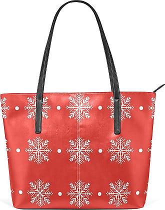 NaiiaN Purse Shopping Handbags for Women Girls Ladies Student Bulldog Light Weight Strap Shoulder Bags Leather Christmas Pattern Snowflake Tote Bag