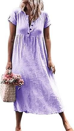 TOMWELL Summer Dresses for Women Casual V Neck Midi Dress Short Sleeve Shirt Dress Button Down A Line Tunic Dress Purple UK 16