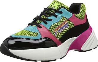 Pinko Womens Zaffiro Sneaker RETE Tecnica Suede Slip On Trainers, Multicolour (Verde/Nero/Fuxia SZD), 5 UK