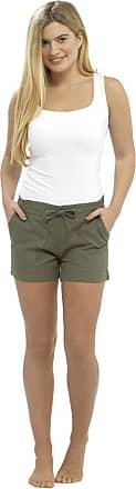 Tom Franks Womens Ladies Solid Colour Rib Waist Turn Up Linen Summer Shortie Shorts - Khaki - 10