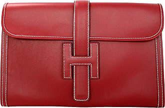 5c46d68d3b1 Hermès Hermes Brick Red Leather Jige Pm H Clutch Bag W  White Contrast  Stitching