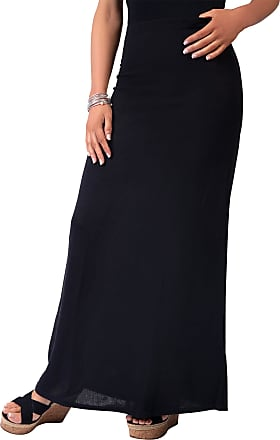 Krisp 2968-BLK-14: High Waist Knitted Maxi Skirt (Black)
