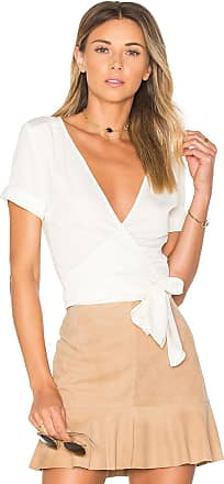 L'Academie The Short Sleeve Wrap Blouse in White