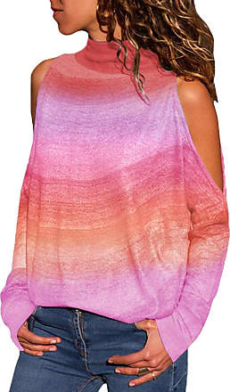 Yoins Women Cold Shoulder Turtle Neck Tops Long Sleeve Geometric Stripe Casual Loose Blouse Tee Pullover Tie Dye-Pink Purple XL