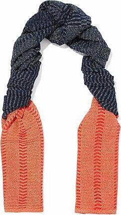 M Missoni M Missoni Woman Metallic Two-tone Crochet-knit Scarf Midnight Blue Size