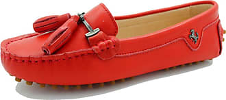 MGM-Joymod Womens Comfortable Red Leather Tassel Buckle Driving Outdoor Walking Casual Flats Slip-on Loafers Boat Shoes 5.5 M UK