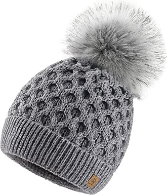 4sold Ladies Chunky Soft Cable Knit Handmade Woman Hat Cosy Fleece Liner and Bobble Faux Fur Pom pom (LORA Grey)