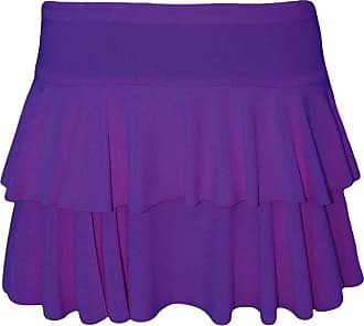 21Fashion Womens Mini RARA Skirt Ladies Dance Club Party Fancy Dress Frill Short Skirt Purple Medium/Large