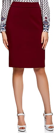 oodji Collection Womens Basic Straight Skirt, Red, UK 14 / EU 44 / XL