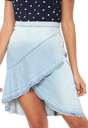 Iodice Saia Jeans Iódice Curta Recorte Azul