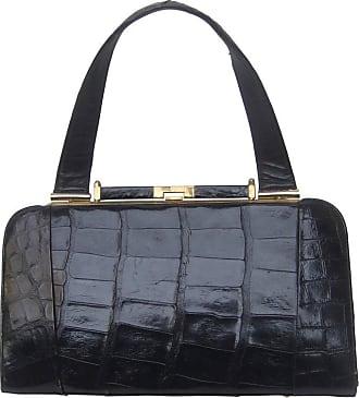 39142299ae70 1stdibs Sleek Ebony Alligator Vintage Handbag Ca 1960