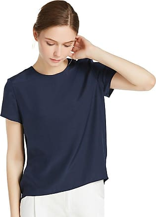 LilySilk Womens Charmeuse Silk T Shirt High Low Blouse Top Shirt Ladies Short Sleeve 22 Momme Pure Silk Navy Blue Size XXL