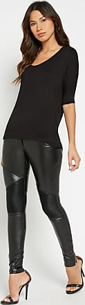 Alloy Apparel Tall Very Faux Leather Moto Plus Size Pants for Women Black 15/35