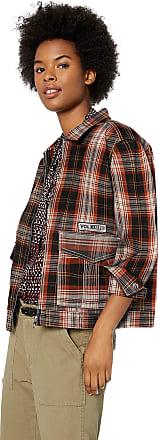 Volcom Womens Frochickie Garage Jacket Work Utility Outerwear, Black Plaid, Large