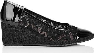 Madeleine Keil-Pumps mit Textil-Einsätzen in schwarz MADELEINE Gr 36 für Damen. Synthetik