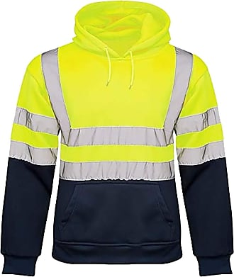 21Fashion Men High Visibility Pullover 2 Tone Hoodie Adults Hi Viz Workwear Sweatshirt Top Yellow/Navy 2X-Large