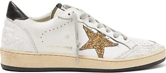 Golden Goose Ball Star Glitter-appliqué Leather Trainers - Womens - White Gold