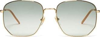 Gucci Lasered-logo Square Metal Sunglasses - Womens - Blue Multi