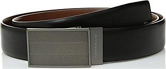 Perry Ellis Mens 35MM Reversible Herringbone Pattern Plaque Belt, black/brown, 32
