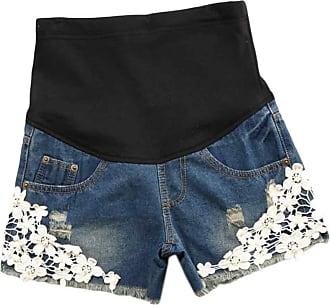 Inlefen Women Maternity Denim Jean Shorts Lounge Shorts Pregnancy Short Pants Adjustable Over Bump Jeans Pants (32-2XL)