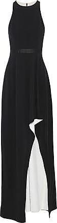 Halston Heritage Halston Heritage Woman Asymmetric Satin-trimmed Stretch-crepe Gown Black Size 14