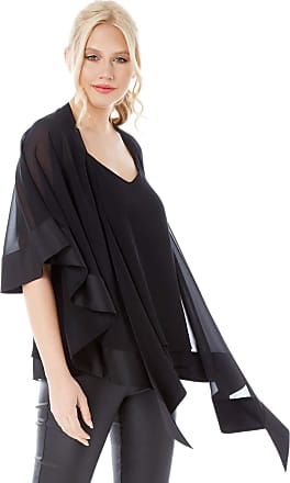 Roman Originals Womens Satin Trim Chiffon Cover Up - Ladies Evening Cover Ups Christmas Waterfall Lightweight Short Sleeve Comfortable Occasion Jackets - Black - Size