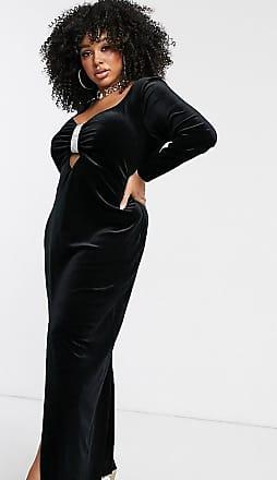 Asos Curve ASOS DESIGN Curve - Vestito lungo in velluto con bordi decorati-Nero