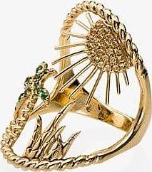 Yvonne Léon Womens 107 - Metallic 18k Yellow Gold Island Sapphire Diamond Ring