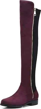 NOADream Knee-High Low Heel Flats Boots Women Flock Leather Stylish Warm Plush Waterproof Non-Slip Walking Party Wedding Over-The-Knee Boots Wine Red