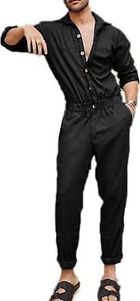 Hellomiko keephen Cargo Overalls Jumpsuit Men Stylish Dungarees Button Cool Design Long Sleeve Overalls Jumpsuits Black
