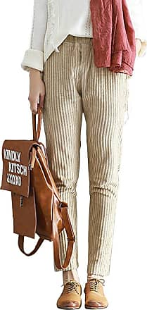OCHENTA Womens Autumn/Winter Casual Corduroy Pants with Pockets Apricot UK 10-Tag XL